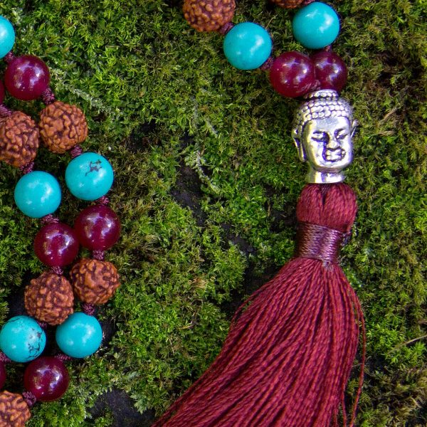 Strength Mala - Green Turquoise, Red Onyx, Rudraksha