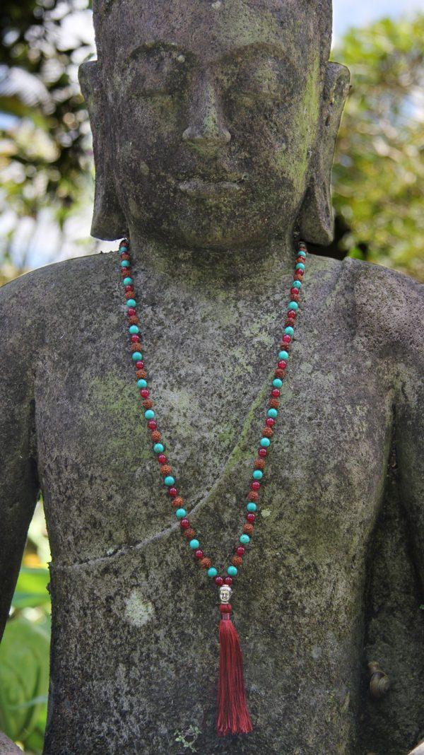 Strength Mala - Green Turquoise, Red Onyx, Rudraksha - Andara Stars