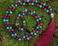 Strength Mala - Green Turquoise, Red Onyx, Rudraksha - Buddhist Prayer India