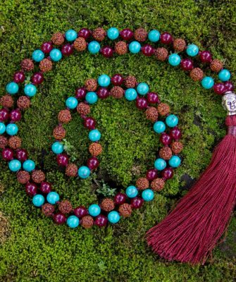 Strength Mala - Green Turquoise, Red Onyx, Rudraksha - Buddhist Prayer India